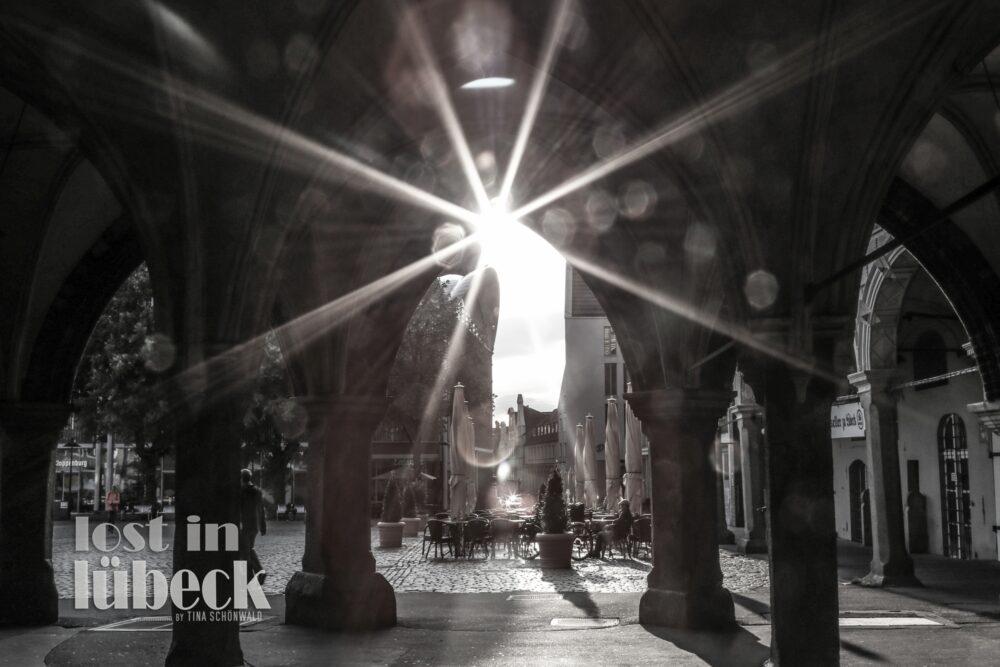 Breite Strasse Lübeck Marktplatz Lichtspiegelung Arkaden