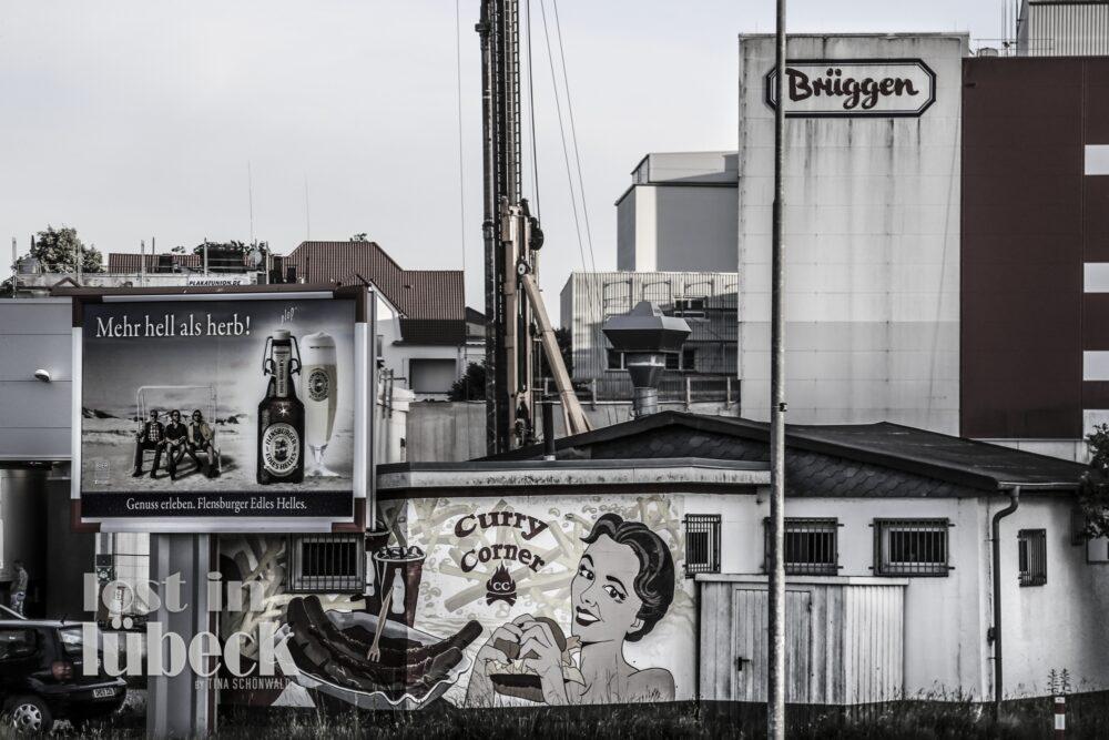 Konstinstrasse Lübeck alte Wandwerbung Blick auf Brüggen